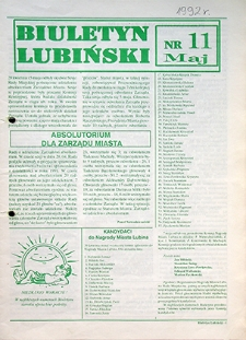 Biuletyn Lubiński : nr 11, maj `92