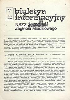 Biuletyn Informacyjny NSZZ Solidarność Zagłębia Miedziowego : nr 3, lipiec `89