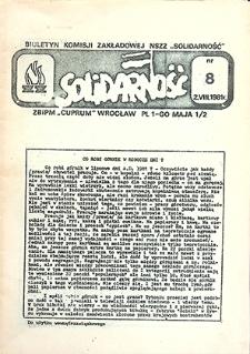 """Biuletyn Komisji Zakładowej NSZZ """"Solidarność"""" : nr 8, sierpień `81"""