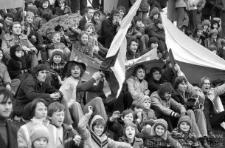 Radość kibiców Zagłębia Lubin po wygranym meczu z Legią Warszawa