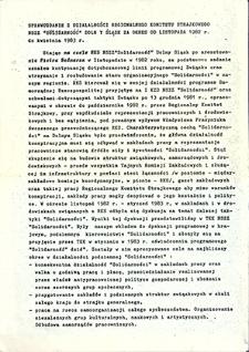 """Sprawozdanie z działalności Regionalnego Komitetu Strajkowego NSZZ """"Solidarność"""" Dolny Śląsk za okres od listopada 1982 r. do kwietnia 1983 r. : luty `90"""