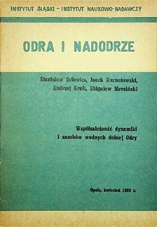 Odra i Nadodrze : kwiecień 1983. Współzależność dynamiki i zasobów wodnych dolnej Odry