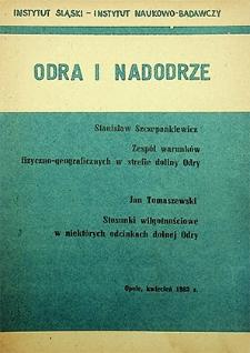 Odra i Nadodrze : 1983. Zespół warunków fizyczno-gospodarczych w strefie doliny Odry. Stosunki wilgotnościowe w niektórych odcinkach dolnej Odry