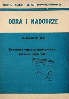 Odra i Nadodrze : 1983. Koncepcja organizacyjno-prawna Zarządu Rzeki Odry