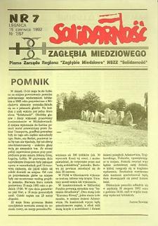 Solidarność Zagłębia Miedziowego : nr 7/67, czerwiec `92