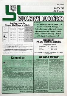 Biuletyn Lubiński : nr 3 (52), luty `95