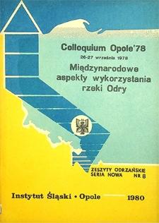 Zeszyty Odrzańskie Seria Nowa nr 8. Colloquium Opole '78. Międzynarodowe aspekty wykorzystania rzeki Odry
