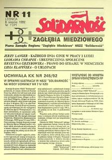 Solidarność Zagłębia Miedziowego : nr 11/71, sierpień `92