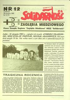 Solidarność Zagłębia Miedziowego : nr 12/72, sierpień `92