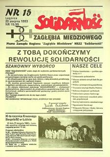 Solidarność Zagłębia Miedziowego : nr 15/95, sierpień `93