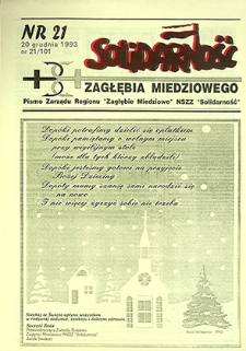 Solidarność Zagłębia Miedziowego : nr 21/101, grudzień `93