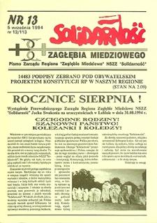 Solidarność Zagłębia Miedziowego : nr 13/113, wrzesień `94
