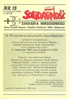 Solidarność Zagłębia Miedziowego : nr 18/118, listopad `94