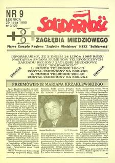 Solidarność Zagłębia Miedziowego : nr 9 /129, lipiec `95